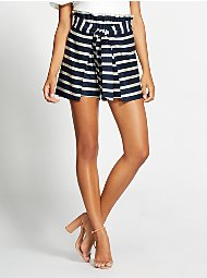 Display product reviews for Gabrielle Union Collection - Navy Stripe Paperbag-Waist Short