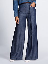 Display product reviews for Gabrielle Union Collection - Dark Blue Wide-Leg Pant