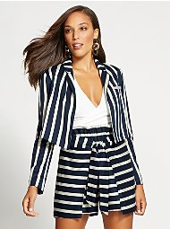 Display product reviews for Gabrielle Union Collection - Navy Stripe Crop Jacket