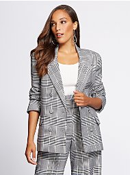 Display product reviews for Gabrielle Union Collection - Tall Plaid Blazer
